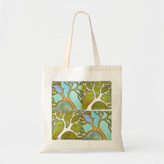 Bolso del arte del árbol del verde azul bolsa tela barata