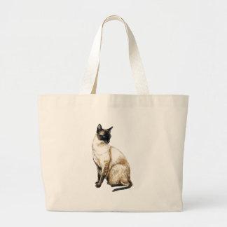 "Bolso del arte del ""gato siamés"" bolsa tela grande"