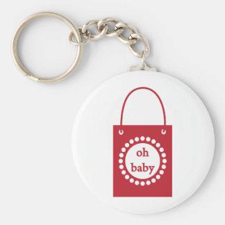Bolso del bebé del rojo oh llavero redondo tipo pin
