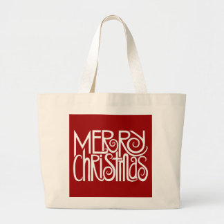 Bolso del blanco de las Felices Navidad Bolsas Lienzo