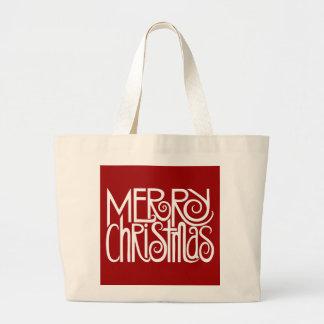Bolso del blanco de las Felices Navidad Bolsa Tela Grande