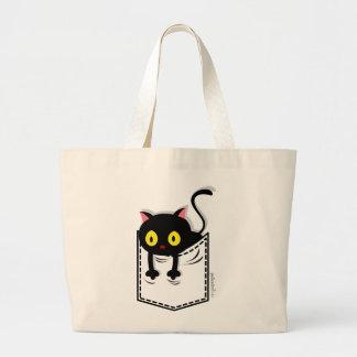 Bolso del bolsillo del gatito bolsa tela grande