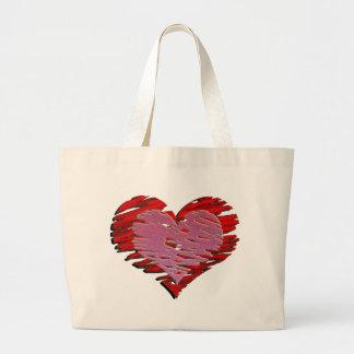 Bolso del corazón bolsa lienzo