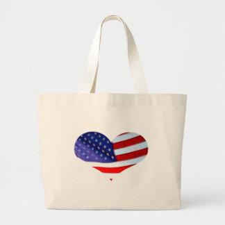 Bolso del corazón de la bandera americana bolsa de mano