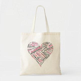 Bolso del corazón de la palabra de la conciencia d bolsas