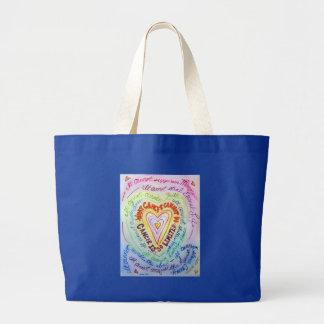 Bolso del corazón del cáncer del arco iris bolsa tela grande