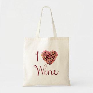 Bolso del corazón del corcho del vino bolsas