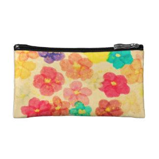bolso del cosmético de la flor
