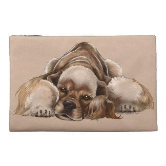 Bolso del cosmético de la piel de ante del perro