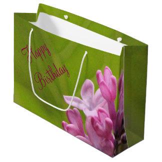 Bolso del cumpleaños de la lila bolsa de regalo grande