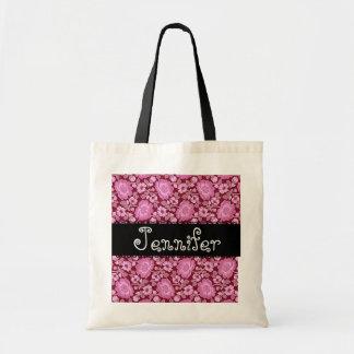 Bolso del damasco del favor del boda del vino rosa bolsa lienzo