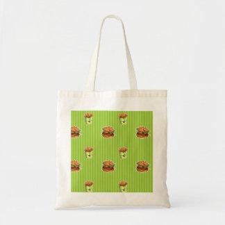 bolso del dibujo animado con la hamburguesa y las bolsa tela barata