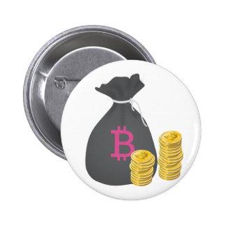 Bolso del dinero de Bitcoin con dos pilas de Pin Redondo 5 Cm