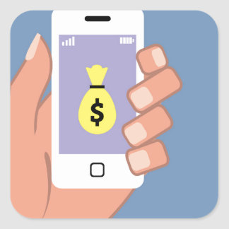 Bolso del dinero Smartphone App disponible Pegatina Cuadrada