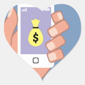 Bolso del dinero Smartphone App disponible Pegatina En Forma De Corazón