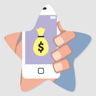 Bolso del dinero Smartphone App disponible Pegatina En Forma De Estrella