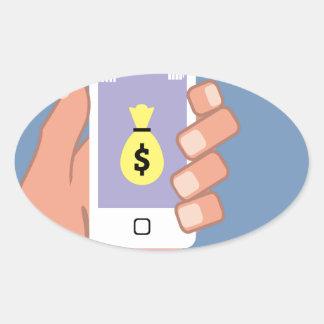 Bolso del dinero Smartphone App disponible Pegatina Ovalada