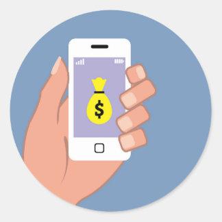 Bolso del dinero Smartphone App disponible Pegatina Redonda