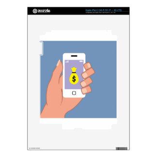 Bolso del dinero Smartphone App disponible Pegatina Skin Para iPad 3