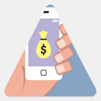 Bolso del dinero Smartphone App disponible Pegatina Triangular