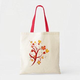 Bolso del diseño del árbol del otoño bolsa tela barata