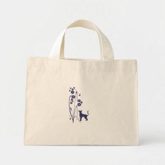 Bolso del diseño del gatito de las flores N de la  Bolsa Tela Pequeña
