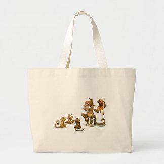 Bolso del espectáculo de marionetas del mono bolsa tela grande