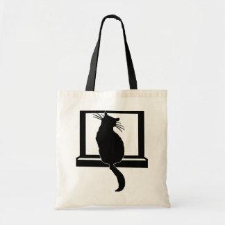 Bolso del gato de la ventana bolsa tela barata