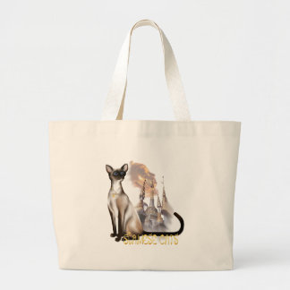 Bolso del gato siamés bolsa tela grande