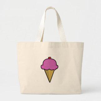 Bolso del helado de fresa bolsas lienzo