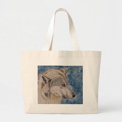 Bolso del lobo del invierno bolsa tela grande