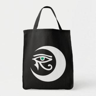 Bolso del logotipo de LunaSees (blanco/ojo del Bolsa Tela Para La Compra