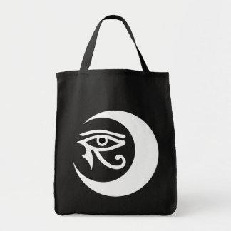Bolso del logotipo de LunaSees (blanco/ojo morado Bolsa Tela Para La Compra