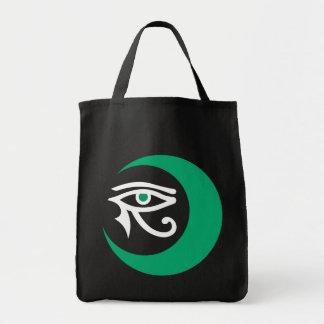 Bolso del logotipo de LunaSees (jade/blanco en Bolsa Tela Para La Compra