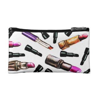 Bolso del maquillaje de los lápices labiales
