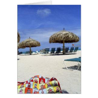 Bolso del mono del calcetín en Aruba en la playa Tarjeta De Felicitación