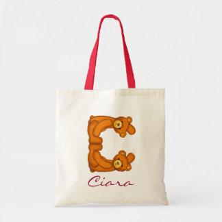 Bolso del monograma de Letter~C~Initial del alfabe Bolsa Tela Barata