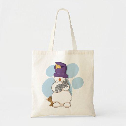 Bolso del muñeco de nieve y de los gatos bolsas lienzo