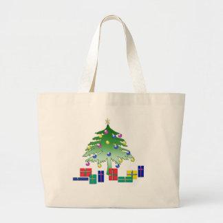 Bolso del navidad de la escena del navidad del dib bolsa tela grande