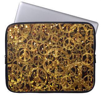 Bolso del ordenador portátil de la paz con brillo  manga portátil