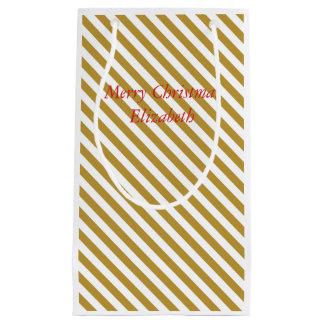 Bolso del oro y del regalo del navidad blanco bolsa de regalo pequeña