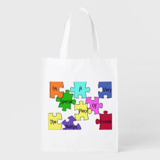 Bolso del pedazo del rompecabezas del autismo bolsa reutilizable