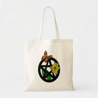 Bolso del pentáculo de la mariposa y de la flor bolsa tela barata