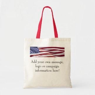Bolso del personalizable de la bandera americana bolsa tela barata