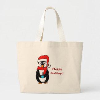 Bolso del pingüino del navidad bolsa tela grande