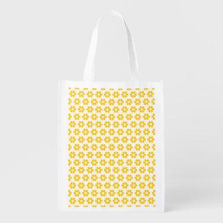 Bolso del poliéster - floretes amarillos bolsas reutilizables