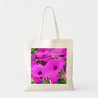 """Bolso del presupuesto de las """"petunias rosadas"""" bolsa tela barata"""