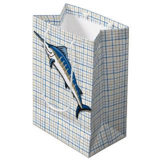 Bolso del regalo - aguja azul en la tela escocesa bolsa de regalo mediana