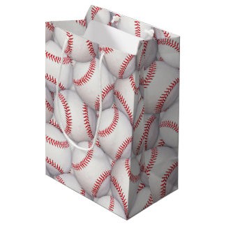 Bolso del regalo de cumpleaños del béisbol del bolsa de regalo mediana