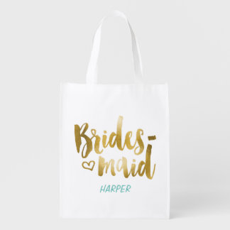 Bolso del regalo de la tela de la dama de honor bolsa reutilizable